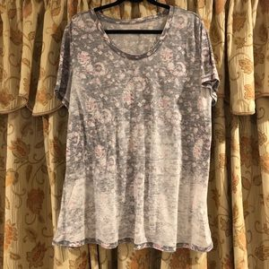 Distressed flowy, flowery T.